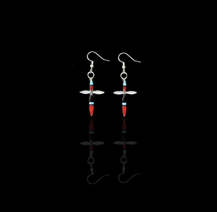 Fala Multi-Stone Inlay Cross Earrings II