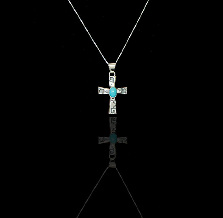 Luyu Sterling Silver & Turquoise Cross Pendant & Chain