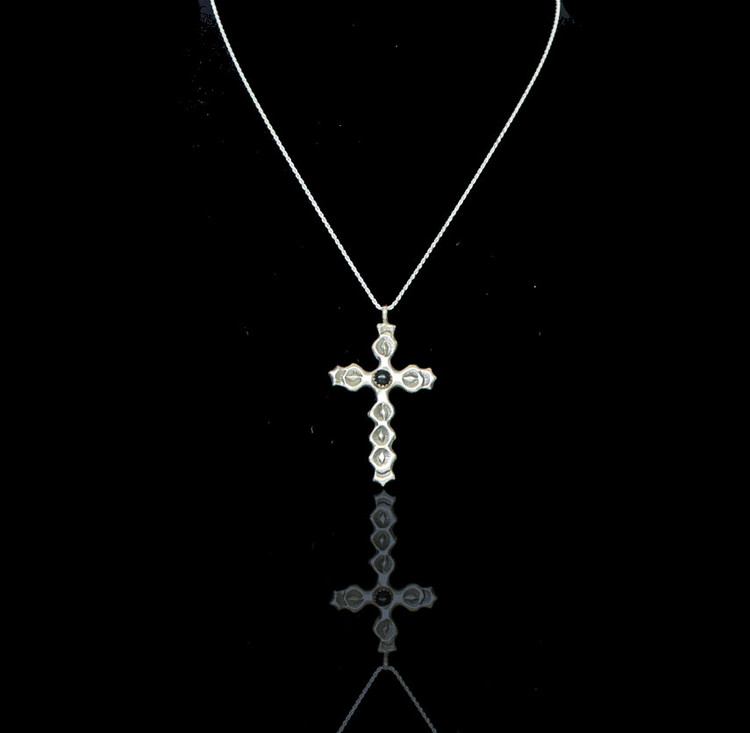 Luyu Angel Fire Onyx & Sterling Silver Cross