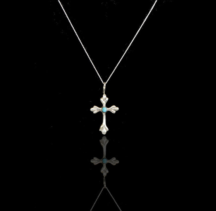 Luyu Crocus Sterling Silver & Turquoise Cross & Chain