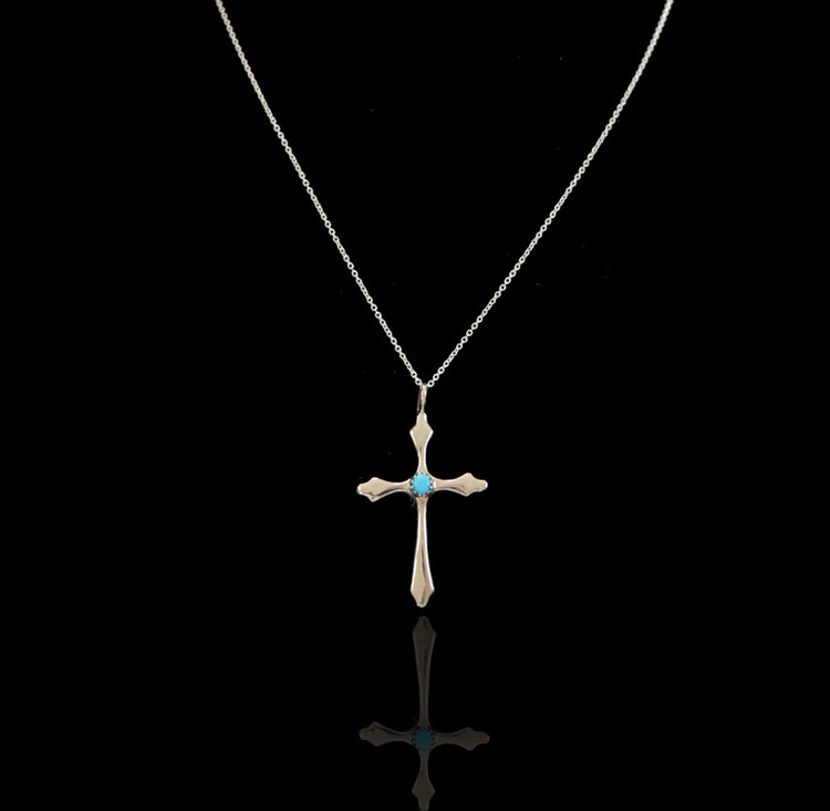 Luyu Agave Sterling Silver & Turquoise Cross & Chain