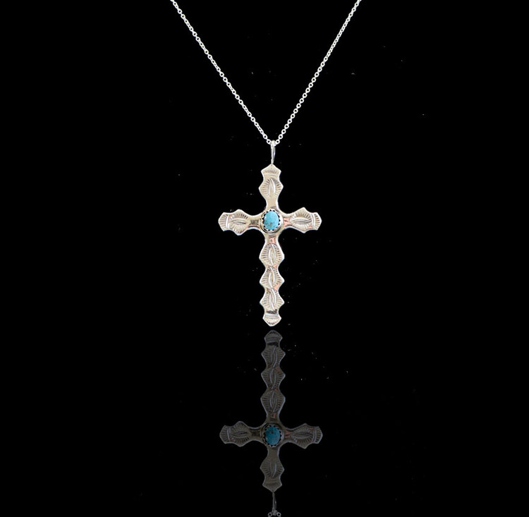 Luyu Oodla Sterling Silver & Turquoise Cross