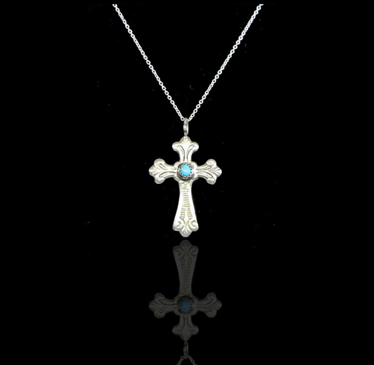 Luyu San Augustin Sterling Silver & Turquoise Cross & Chain