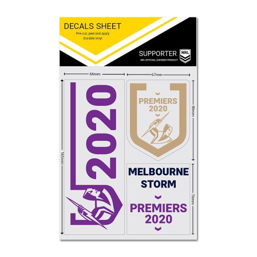 Melbourne Storm 2020 Premiers Decal Sheet (3 Pack)