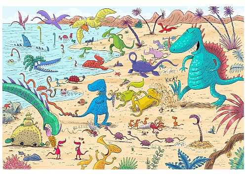 TEENYTINYSAURS BEACH PRINT BY GARY NORTHFIELD