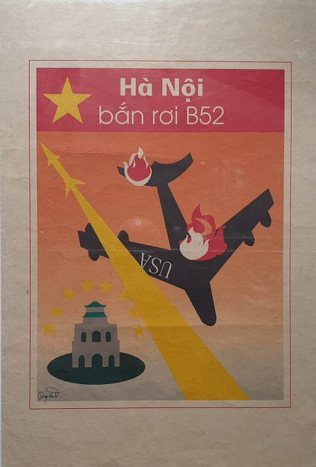 VIETNAMESE PROPAGANDA PRINT HANO IS THE PLACE WHERE AMERICAN AIRCRAFT ARE SHOT DOWN