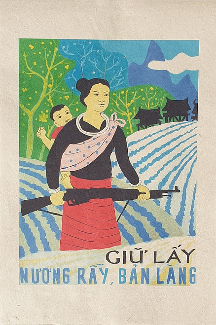 VIETNAMESE PROPAGANDA PRINT PROTECTING TERRACED FIELDS AND HAMLETS
