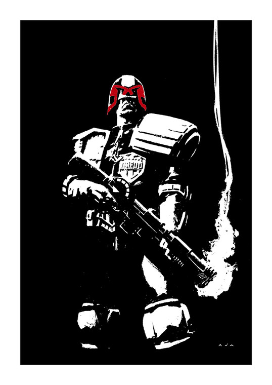 """JUDGE DREDD """"SMOKING GUN"""" PRINT BY DAVID AJA WITH SIGNED CERTIFICATE OF AUTHENTICITY"""