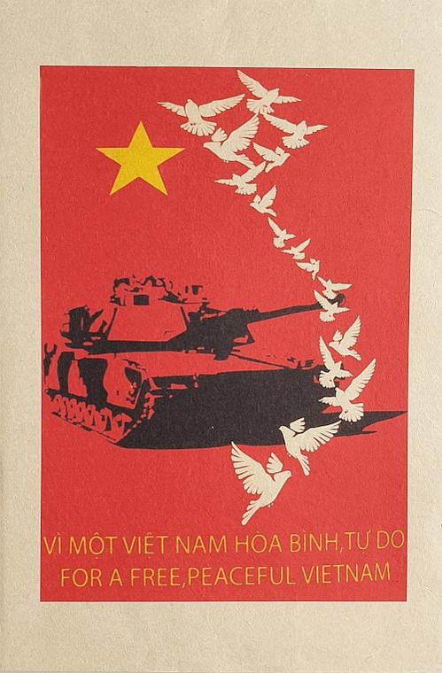 VIETNAMESE PROPAGANDA PRINT FOR A FREE AND PEACEFUL VIETNAM