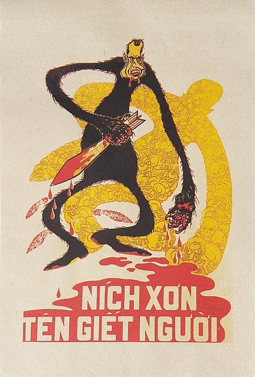 VIETNAMESE PROPAGANDA PRINT NIXON THE MURDERER