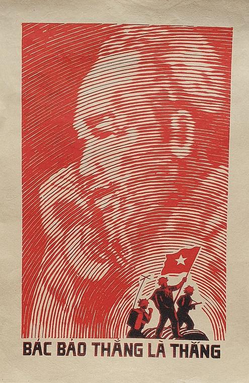 VIETNAMESE PROPAGANDA PRINT UNCLE HO SAID VICTORY