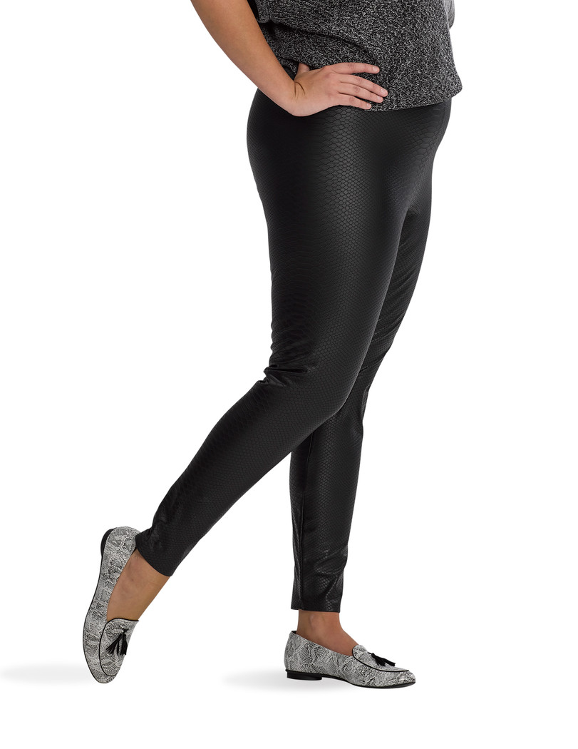 Croco Leatherette High Rise Leggings Black