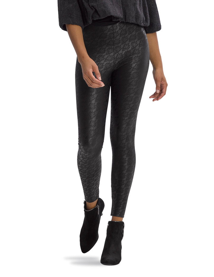 Lacy Leatherette High Rise Leggings Black
