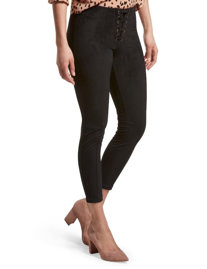 Lace Up Microsuede Skimmer Leggings Black
