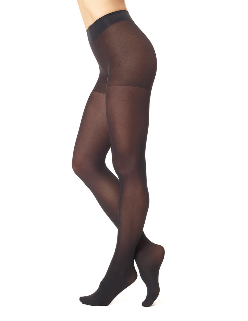 Opaque Tights with Control Top 2 Pk Black
