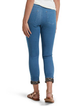 Printed Cuff Ultra Soft Denim High Waist Leggings Sail Blue Wash