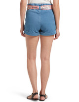 Paperbag Waist Ultra Soft Denim High Waist Shorts Sail Blue Wash