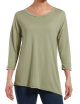 Three Quarter Sleeve Crew Neck Tunic Fatigue Small