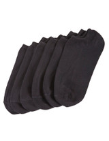 Cotton Liner 6 Pair Pack Black, Shoe Sizes 4-10