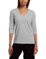 Solid 3/4 Sleeve V-Neck Sleep Tee Med Grey Heather Small