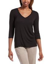 SleepWell Solid 3/4 Sleeve V-Neck Sleep Tee Med Grey Heather Small
