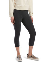 Wide Waistband Blackout Cotton Capri Leggings Grey Heather Small