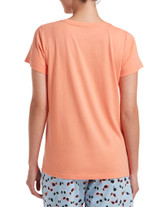 Short Sleeve V-Neck Sleep Tee Peach Pink