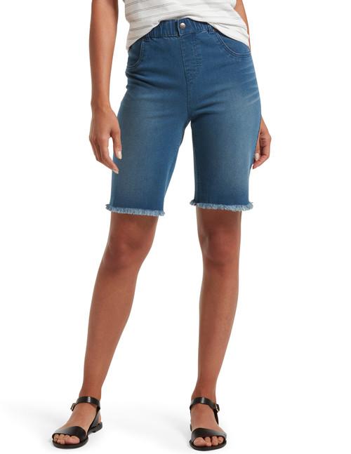 Ultra Soft Denim High Waist Bermuda Shorts Sandbar