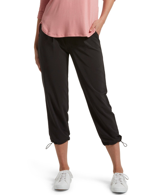 Travel Adjustable Hem Cropped Trouser Black
