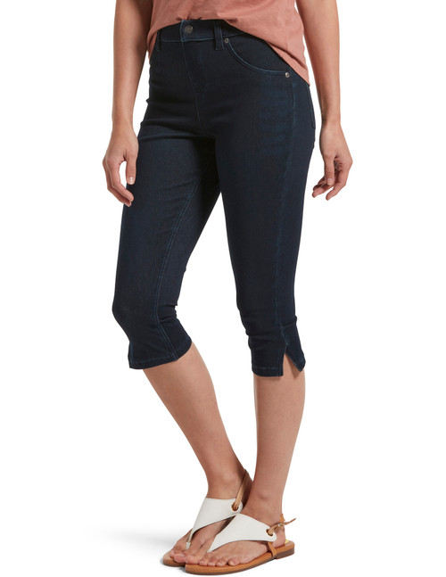 Ultra Soft Denim High Waist Short Capri Legging Black Indigo Wash