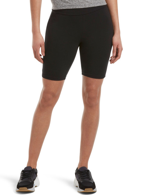 Hi Waist Blackout Cotton Bike Shorts Black