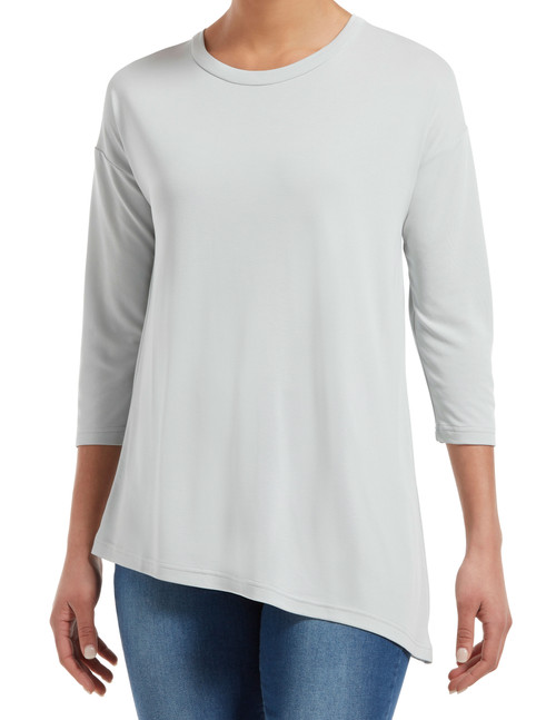 Three Quarter Sleeve Crew Neck Tunic Gray Dove