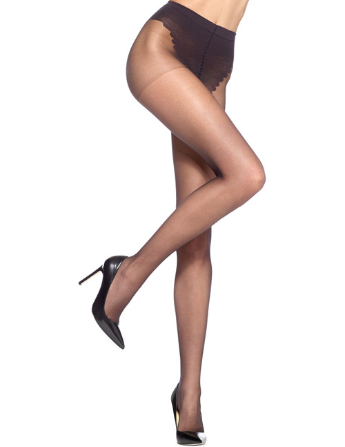 French Lace Control Top Pantyhose Black