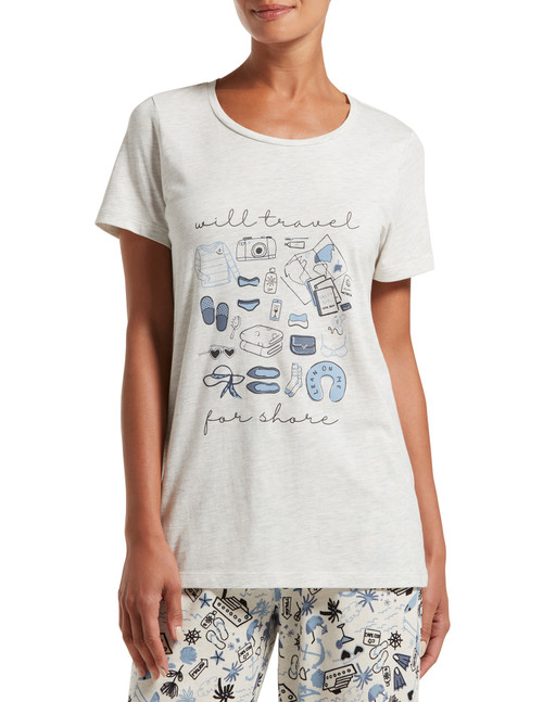 Will Travel Short Sleeve Scoop Neck Sleep Tee Whitesand Heather