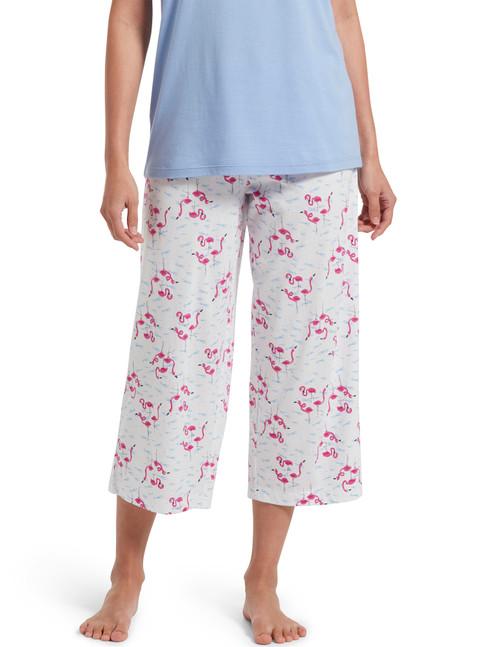 SleepWell Flamingals Capri Pajama Pant White