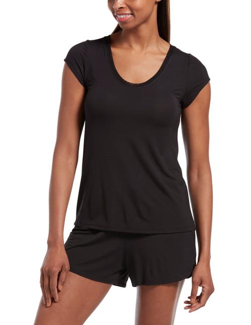SleepWell Solid Short Sleeve PJ Tee Black