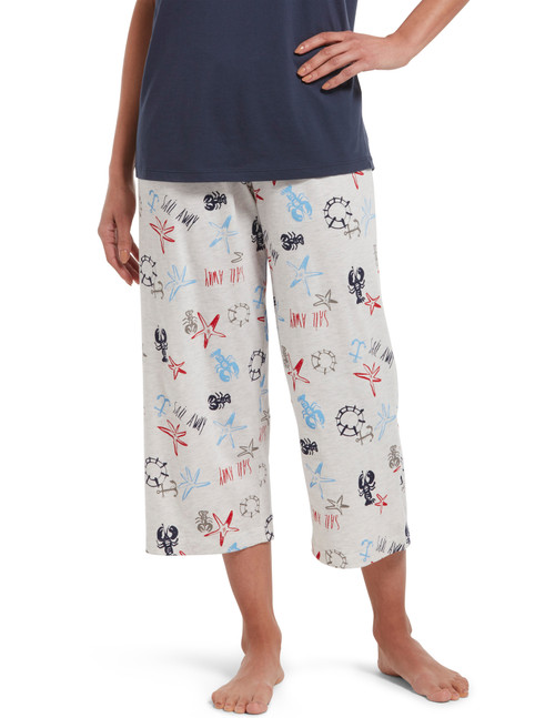 Smooth Sailing Capri Sleep Pant Whitesand Heather