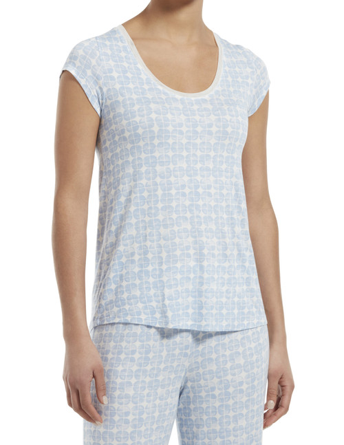 SleepWell Hazy Geo Short Sleeve Sleep Tee Serenity