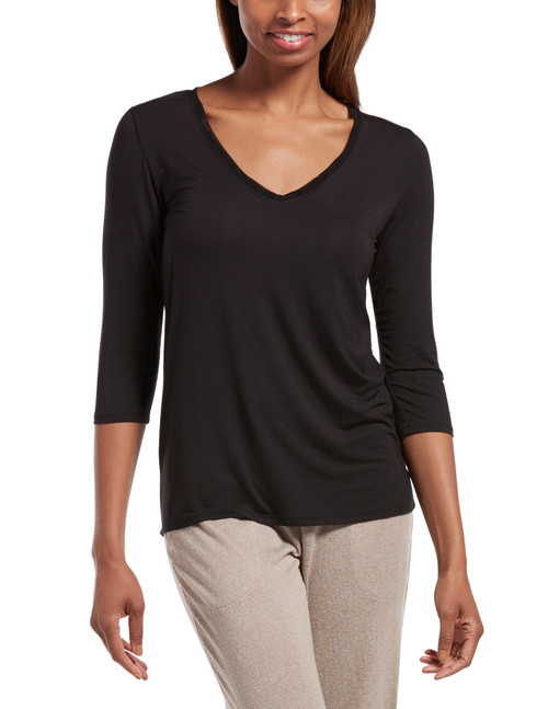 Solid 3/4 Sleeve V-Neck Sleep Tee Black