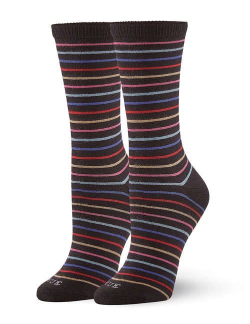 Super Soft Crew Sock 3 Pair Pack Black Stripe