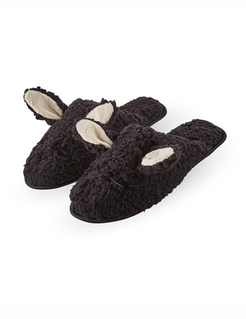 Animal Plush Slide Slippers Black
