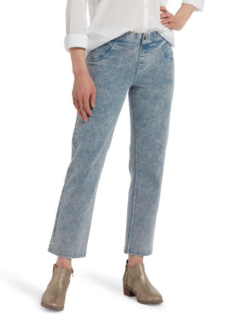 Denim Cropped Straight Leg Skimmer Vintage Acid Wash