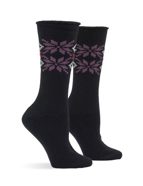 Snowflake Supersoft Roll Top Boot Sock Black