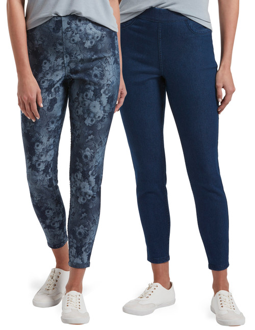 Indigo Floral Reversible High Waist Denim Skimmer