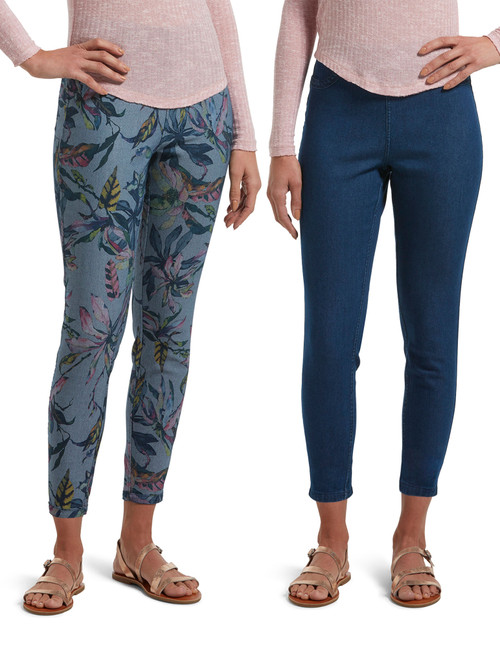 Batique Floral Reversible High Waist Denim Skimmer