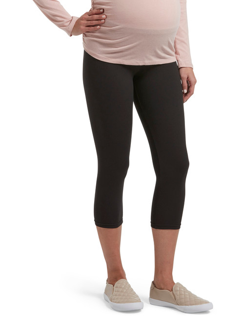 Under Belly Soft Knit Maternity Capri Black