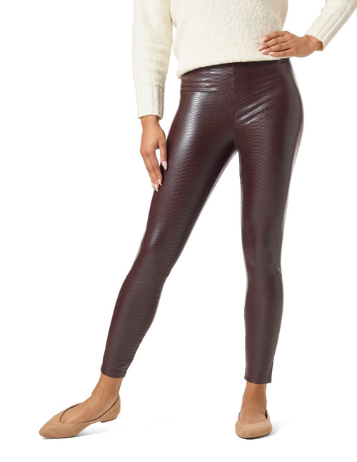 Croco Leatherette High Rise Leggings Black