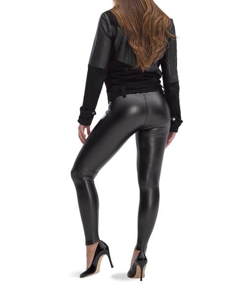 Leatherette High Rise Leggings Black