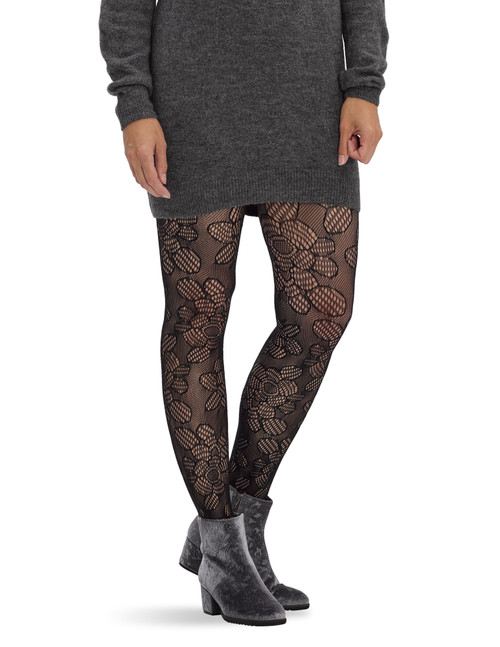 Daisy Lace Net Tights Black