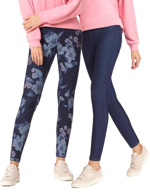 Floral Reversible Denim High Rise Leggings